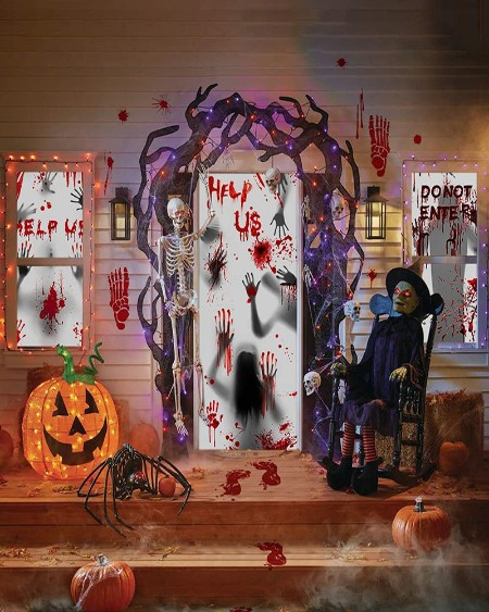 Halloween Giant Bloody Handprint Decorations 11 PCS Halloween Door Cover Window Poster Scary Zombie Creepy for Haunted House Decor Halloween Party Favor