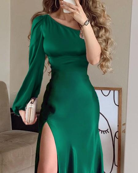 One Shoulder Satin High Slit Party Dress
