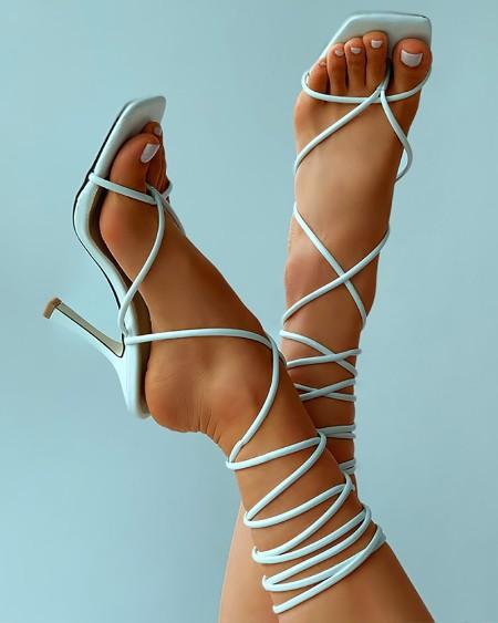 Toe Post Square Toe Strappy Stiletto Heels