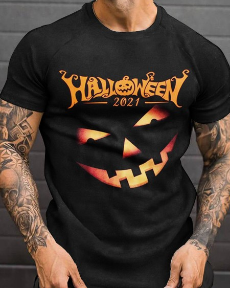 Fashion Mens Halloween Letter Emoj Printed Short Sleeve T-Shirt