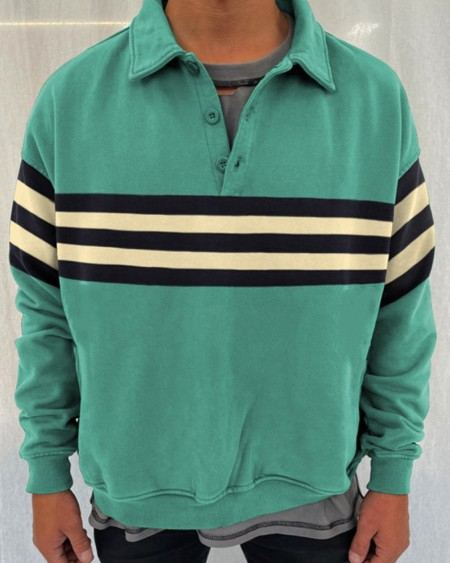Striped Patch Long Sleeve POLO Shirts Sweatshirts