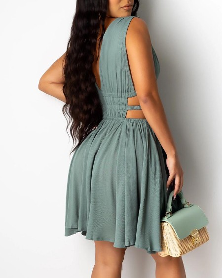 Plunge Cutout Ruched Backless Dress
