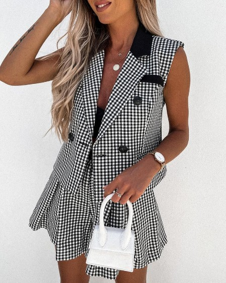 Plaid Print Buttoned Blazer Top & Shorts Set