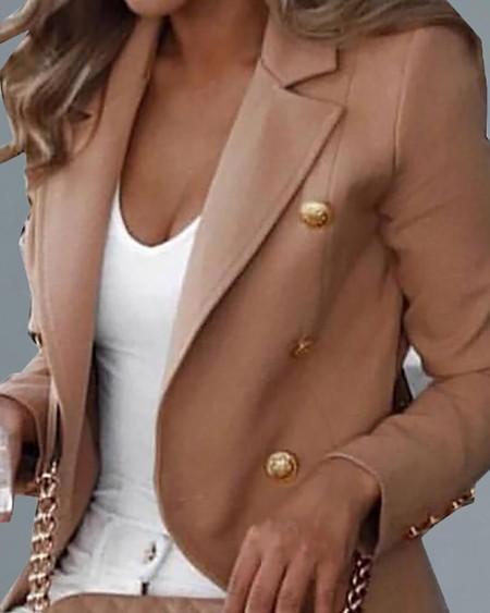 Elegant Long-sleeved Blazer Jacket Solid Color Slim Fit Lapel Business Office Jacket Short Coat Double-Breasted Suits