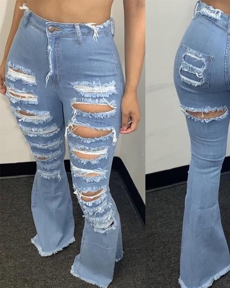 High Stretch Ripped Raw Hem Flare Leg Jeans