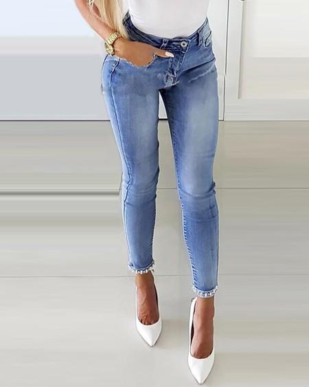 Studded Bowknot Design Skinny Jeans