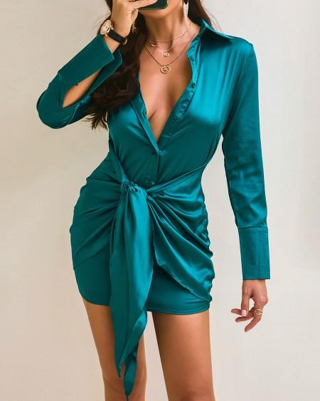 Tied Detail Buttoned Satin Shirt Dress