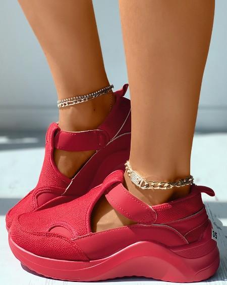 Cutout Breathable Casual Flatform Sneaker