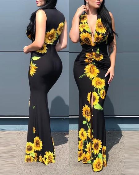 Plunge Sunflower Print Slit Maxi Dress