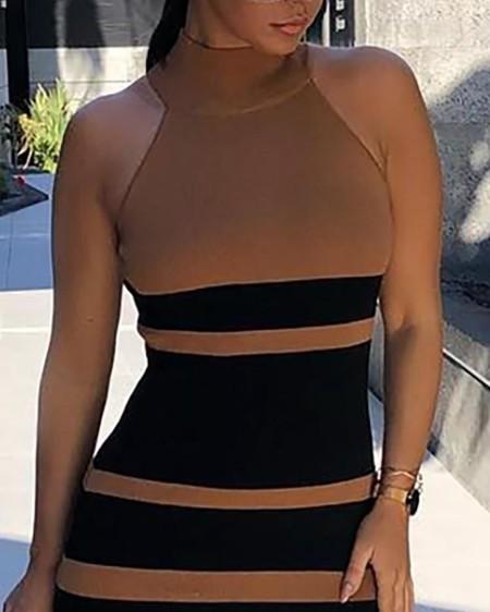 Contrast Color Sleeveless Bodycon Dress