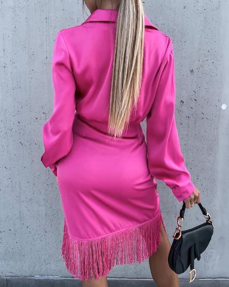 Satin Long Sleeve Tassel Design Tied Detail Shirt Dress