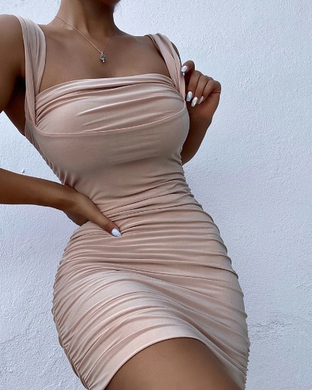 Thick Strap Sleeveless Ruched Bodycon Dress