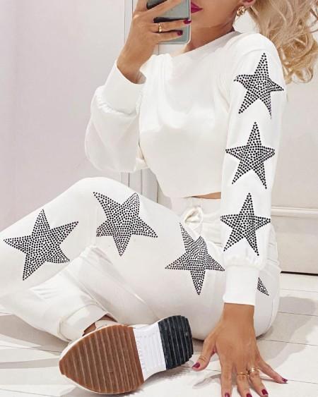 Studded Star Pattern Top & Drawstring Pants Set