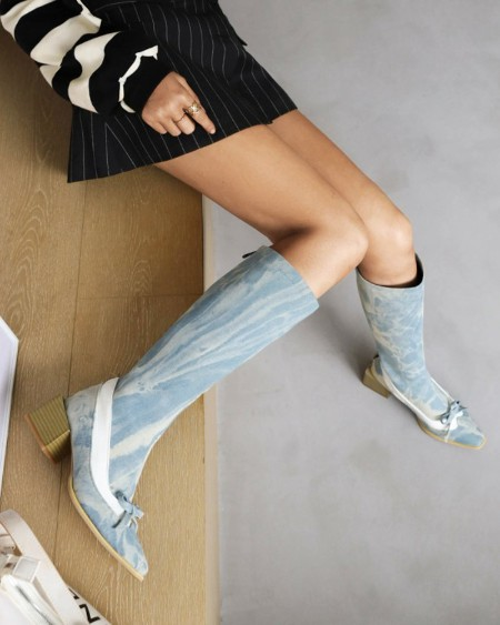 Womens Bowknot Decoration Colorblock Round Toe Long Boots