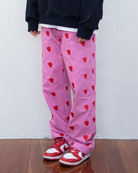 Heart Print Straight Baggy Pants