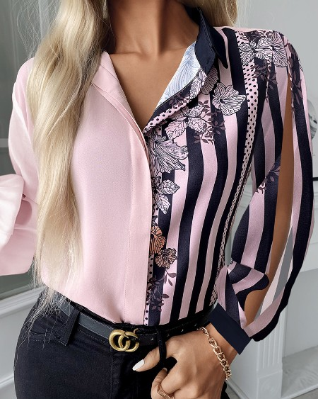 Polka Dot Floral Striped Print Buttoned Shirt