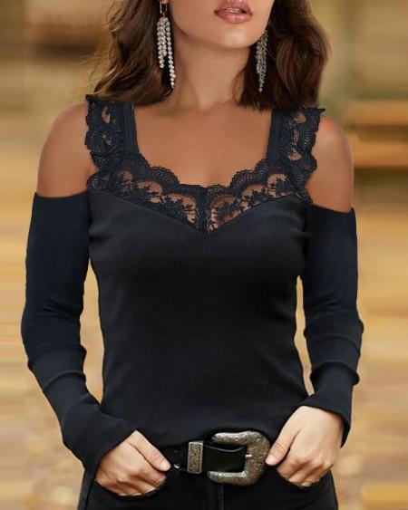 Women's Contrast Lace Cold Shoulder Top