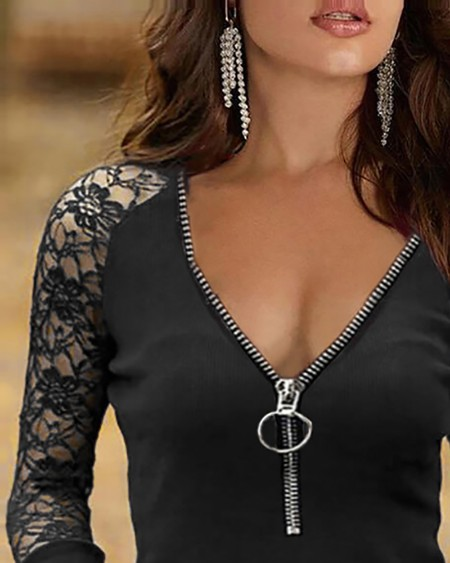 Crochet Lace Long Sleeve Zipper Front Top