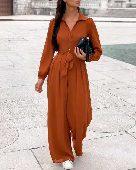 Puff Sleeve Buttoned Casual Jumpsuit With Belt