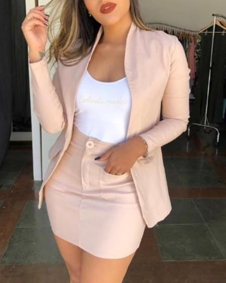 Long Sleeve Blazer Coat & Pockets Skirt Set