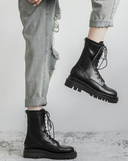 Round-toe Solid Color Lace-up Martin Boots