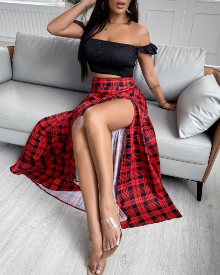 Off Shoulder Crop Top & High Slit Plaid Maxi Skirt Set