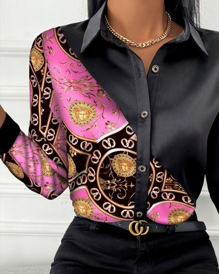 Baroque Print Button Front Long Sleeve Shirt