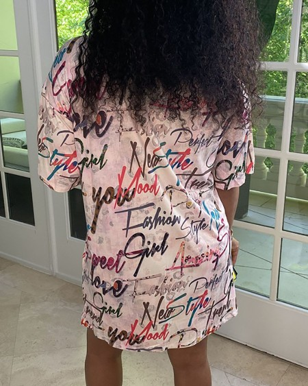 Graphic Letter Print Half Sleeve T-shirt Dress