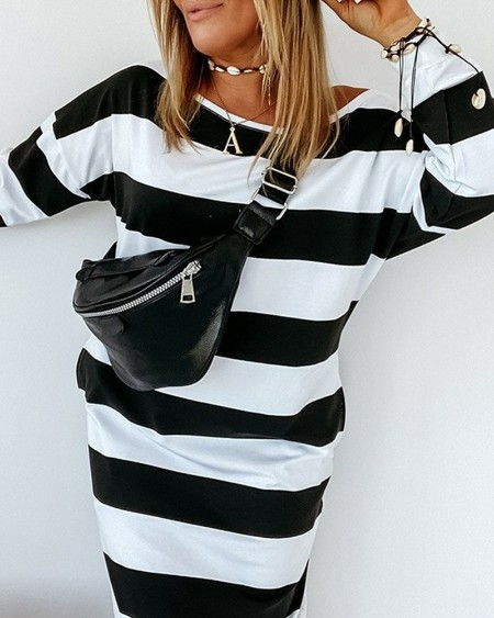 Striped Drop Shoulder Sweatshirt Dress
