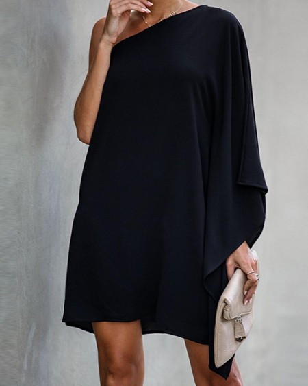 Fashion Women One Shoulder Black Mini Dress