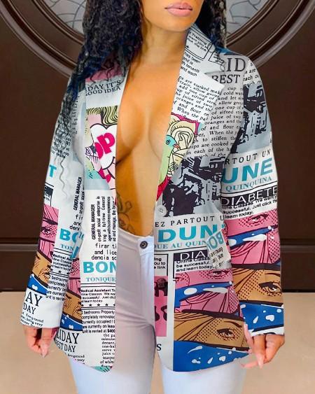 Plus Size Newspaper Print Single Button Blazer Coat