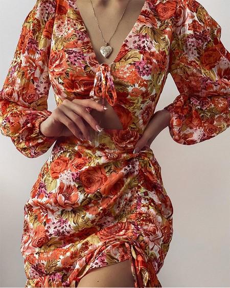 FLoral Print Cutout Drawstring Slit Dress