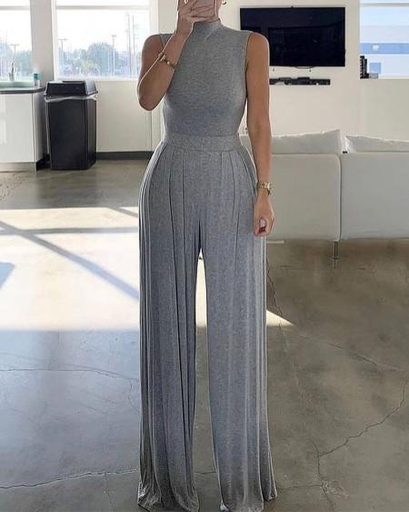 Plain Straight Long Jumpsuit