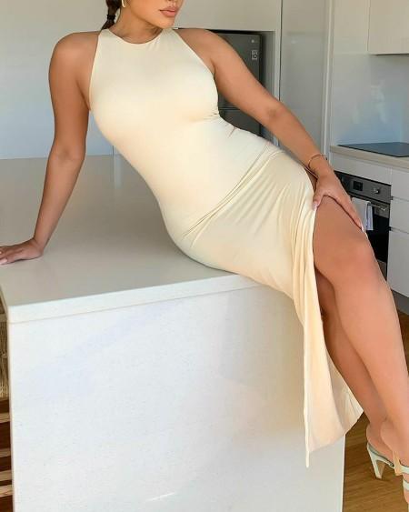 Solid Sleeveless Split Thigh Bodycon Dress