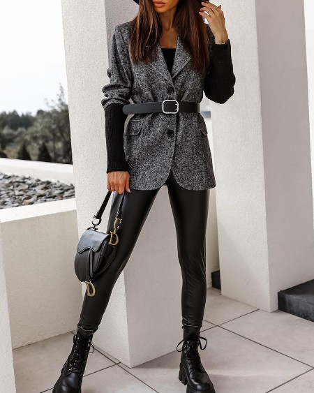 Button Design Long Sleeve Blazer Coat Without Belt