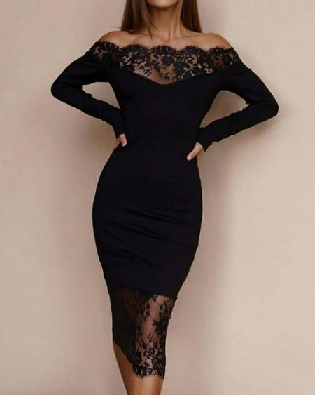 Off Shoulder Crochet Lace Long Sleeve Bodycon Dress
