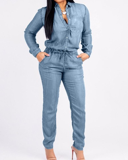 Pocket Design Drawstring Denim Jumpsuit