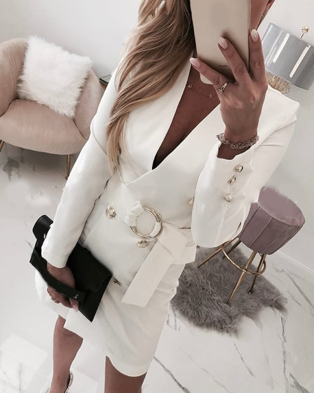 Plain Long Sleeve Buttoned Blazer Dress