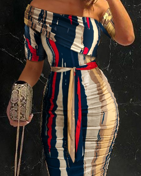 Striped Cold Shoulder Ruched Belted Bodycon Dress