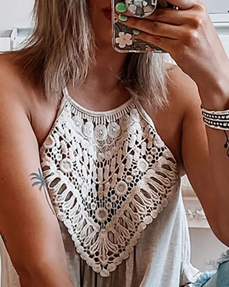 Braided Patch Sleeveless Casual Top
