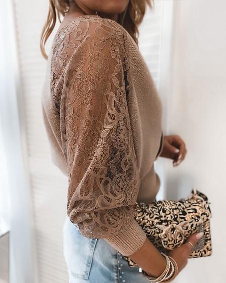 Contrast Lace Surplice Neck Sweater