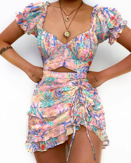 Cutout Front Ruched Puff Sleeve Tropical Print Dress