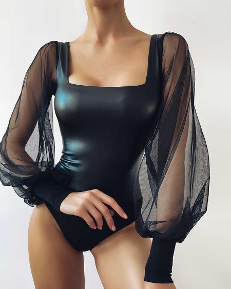 PU Leather Sheer Mesh Lantern Sleeve Skinny Bodysuit