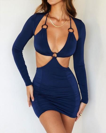Halter O-Ring Cutout Long Sleeve Bodycon Dress