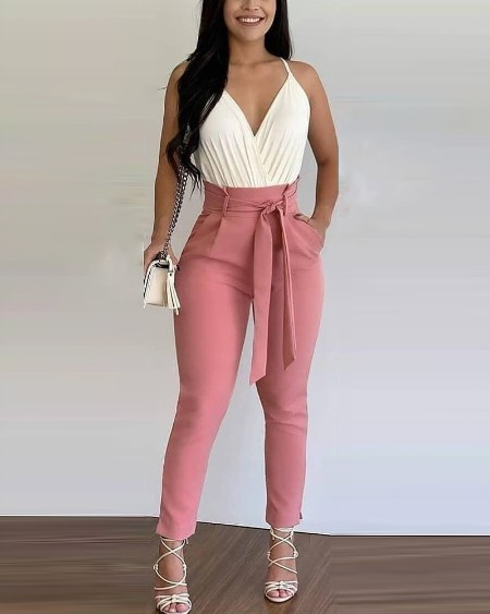 Solid Color Sleeveless Tank Top With Lace-up Pants Commute Suit Sets