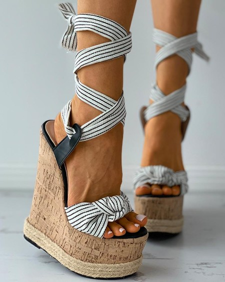 Striped Lace-up Twisted Espadrille Cork Wedge Sandals