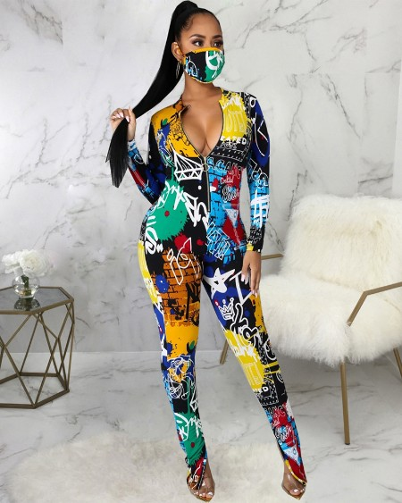 Graphic Print Zipper Front Skinny Jumpsuit With Face Mask