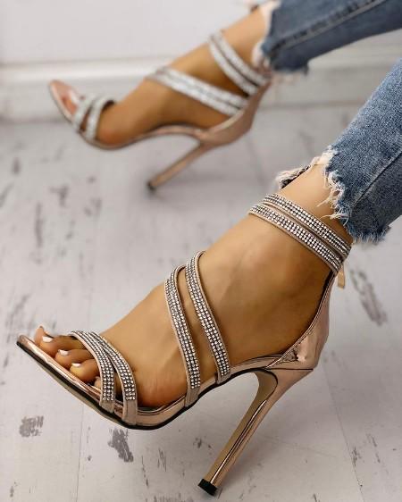 Hot Drilling Bandage Thin Heeled Sandals