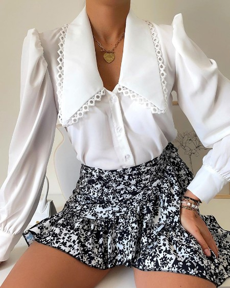 Puff Sleeve Lace Trim Buttoned Shirt