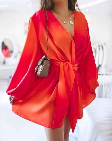 Ombre V-Neck Lantern Sleeve Belted Casual Dress